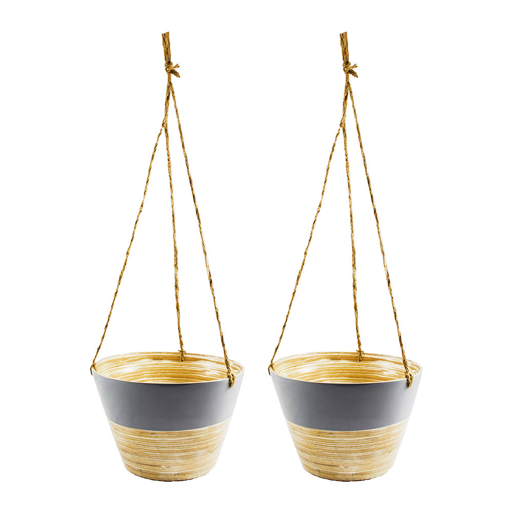 Iron  Clay - Hanging Bamboo Planter - Set of 2 - Grey