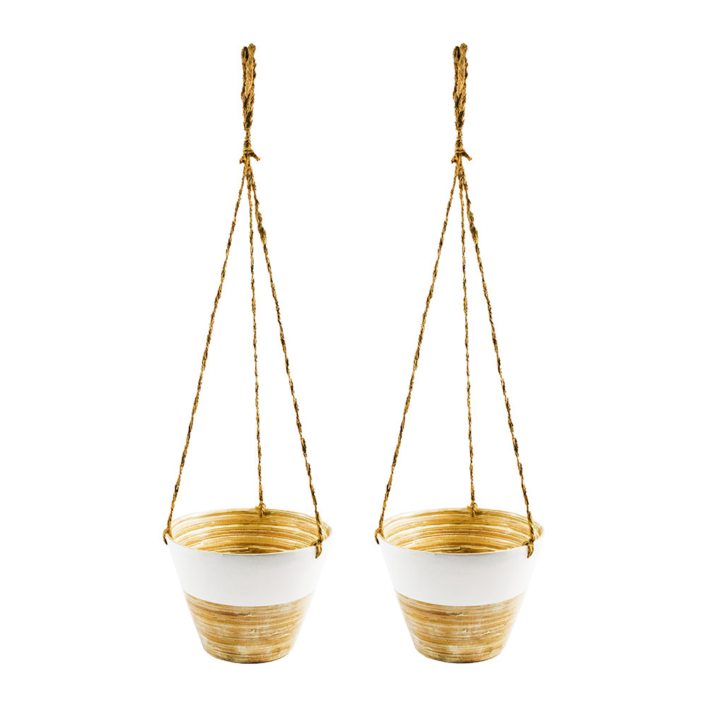 Iron  Clay - Hanging Bamboo Planter - Set of 2 - White