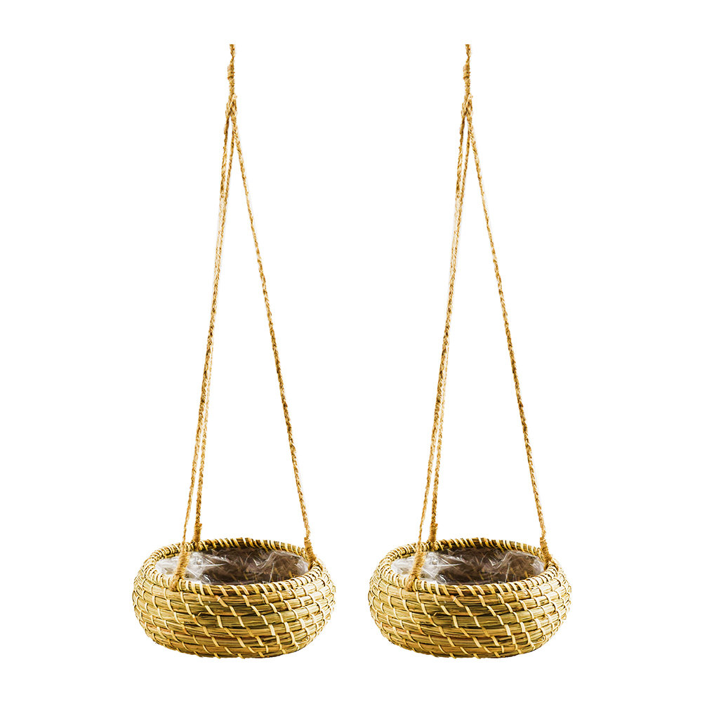 Iron  Clay - Hanging Seagrass Planter - Set of 2