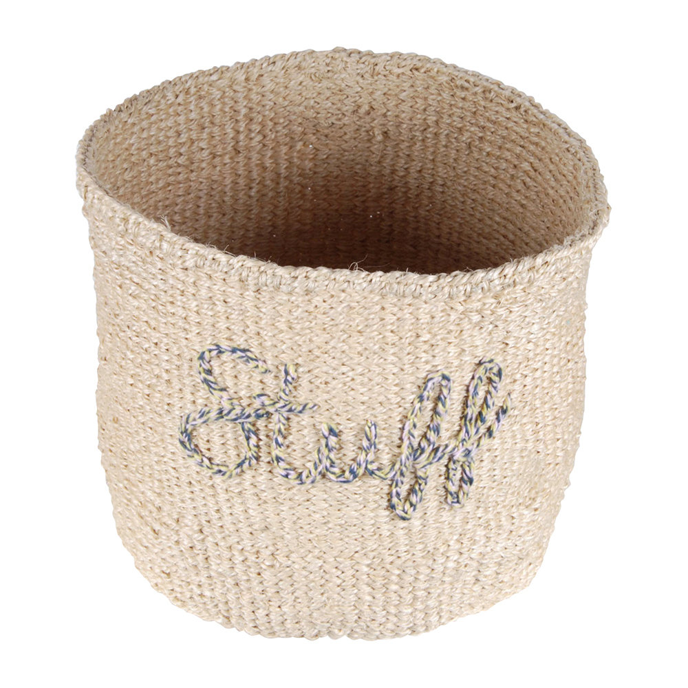 The Basket Room - 'Stuff' Embroidered Hand Woven Basket