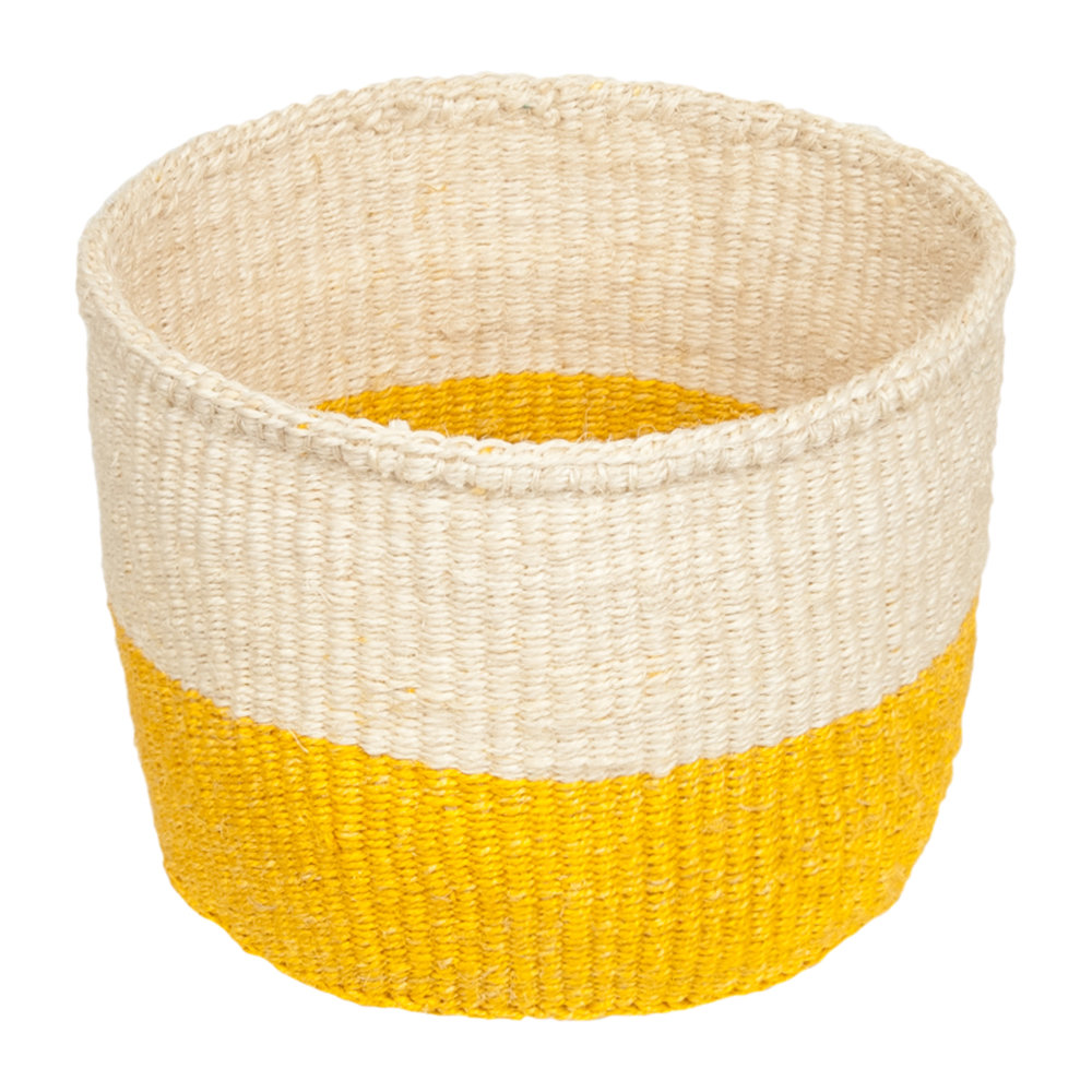 The Basket Room - Colour Block Alizeti Hand Woven Basket - Yellow - XS