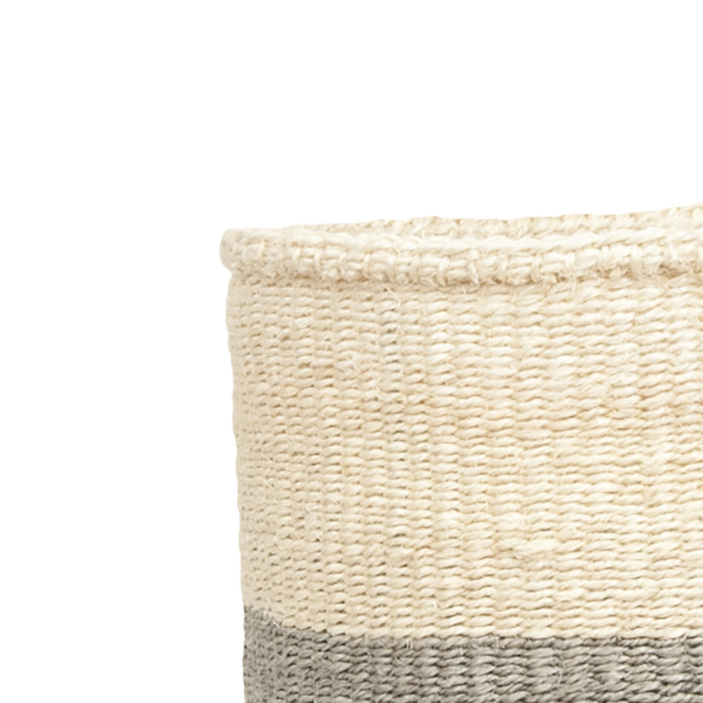 The Basket Room - Colour Block Itale Hand Woven Basket - Grey - M