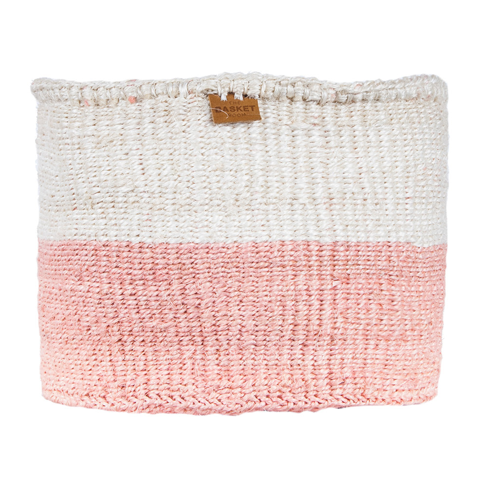 The Basket Room - Color Block Jioni Hand Woven Basket - Pink - XS