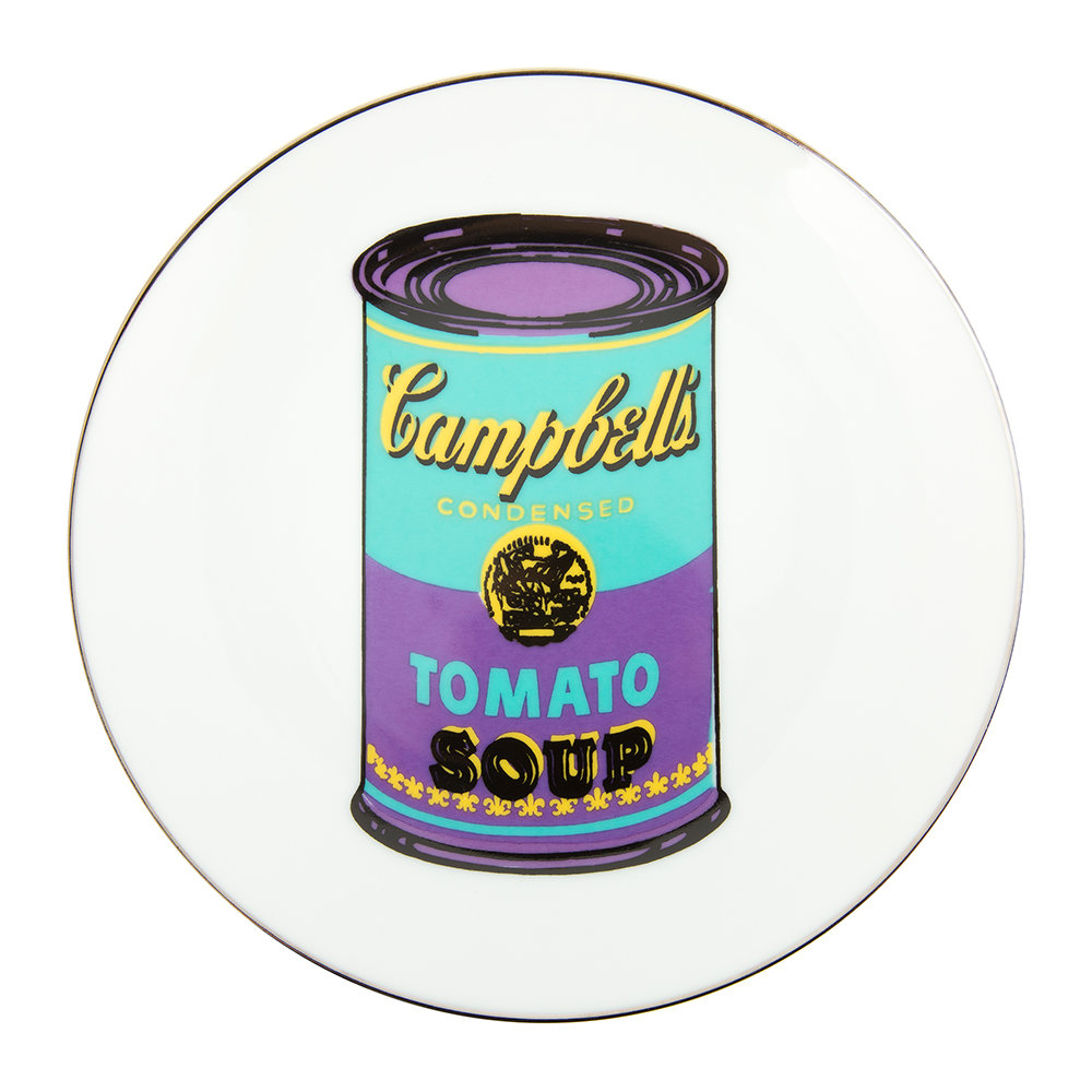 Ligne Blanche - Andy Warhol Plate - Campbell's Soup - Turquoise/Purple