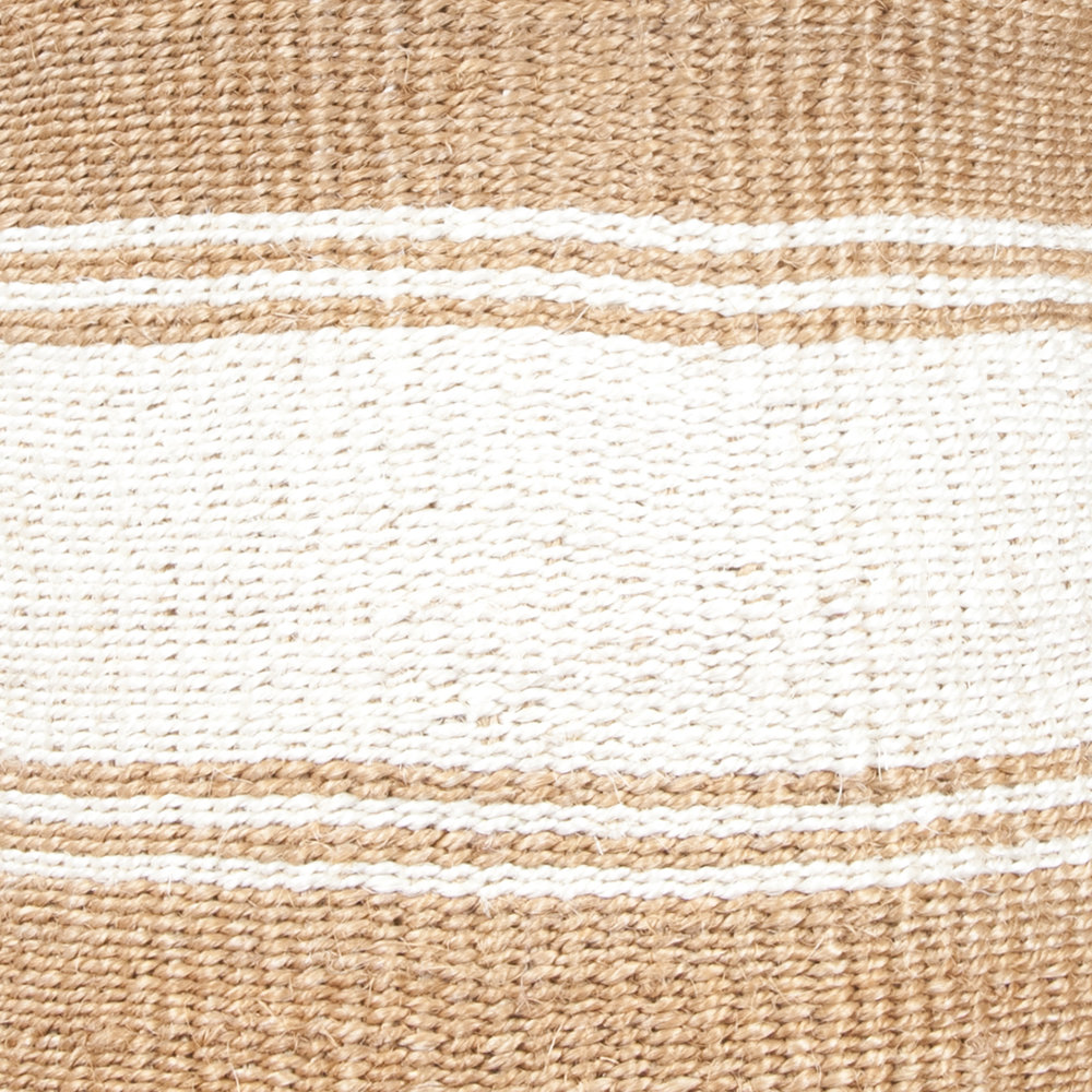 The Basket Room - Afya Hand Woven Laundry/Storage Basket - Beige/White Stripe