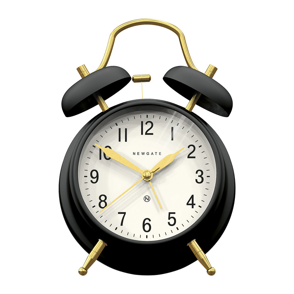 Newgate Clocks - Brick Lane Alarm Clock - Black/Brass