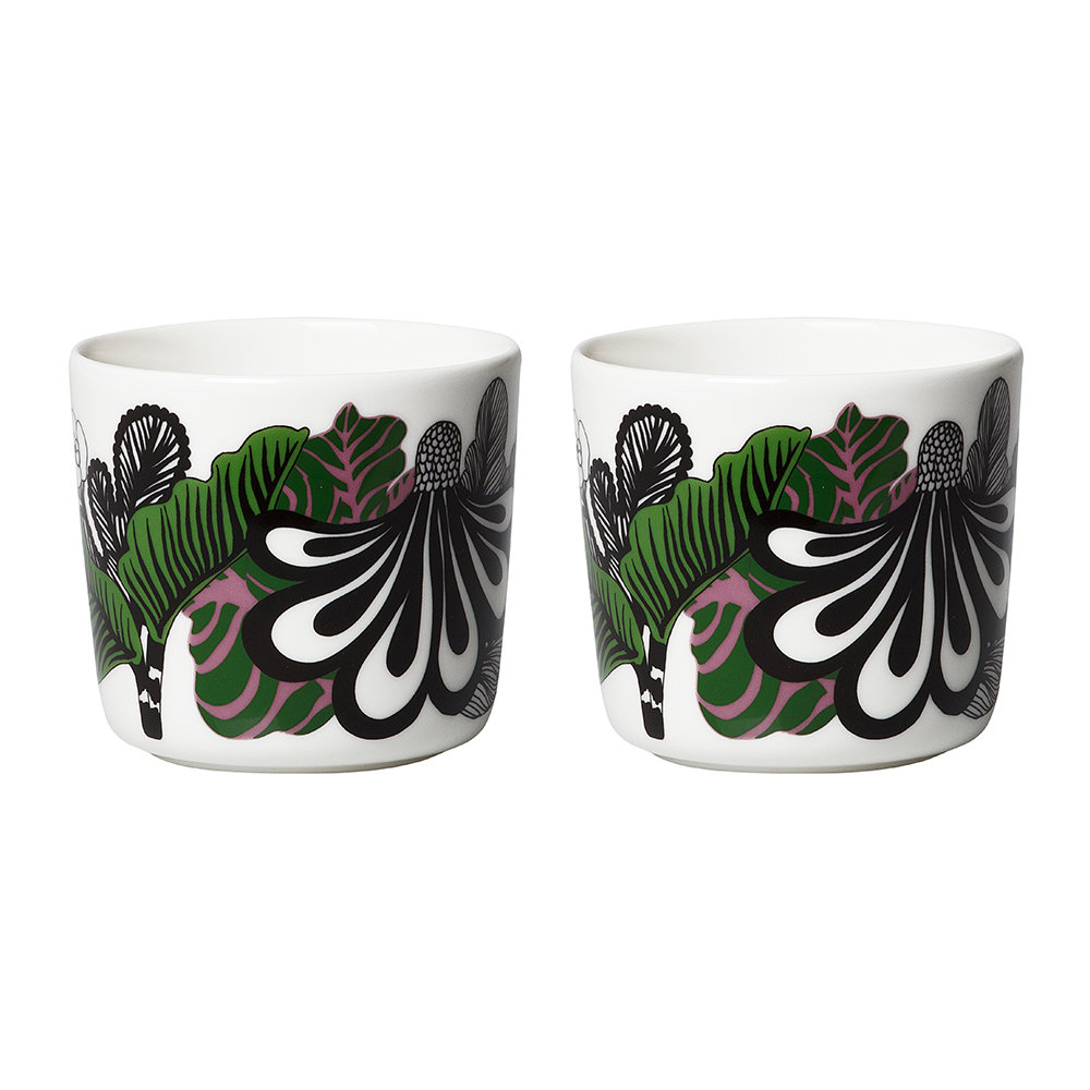 Marimekko - Kaalimetsa Coffee Cup - White/Green/Violet - Set of 2