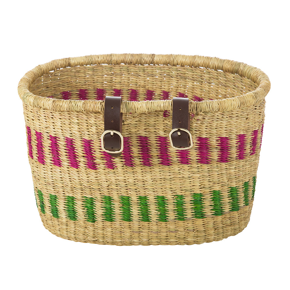 The Basket Room - Nisobila Hand Woven Bicycle Basket - Pink/Green