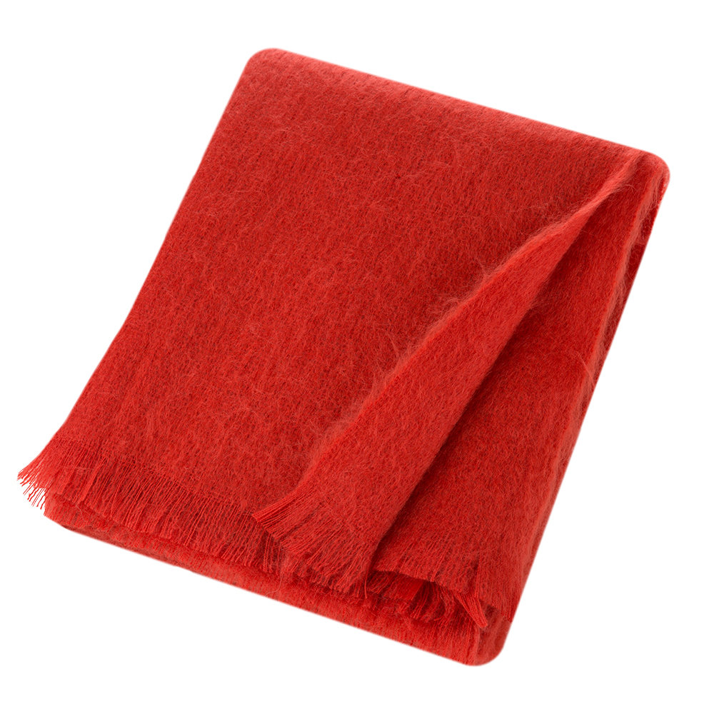 Bronte by Moon - Mohair Throw - Flame