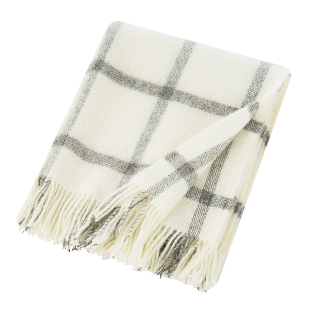 Bronte by Moon - Natural Pure Wool Throw - Cream