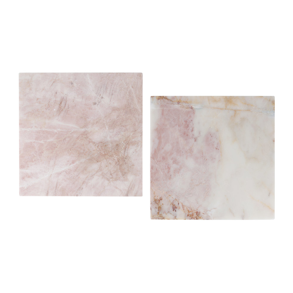 Stoned - Square Marble Serving Board - Pink - 40x40cm