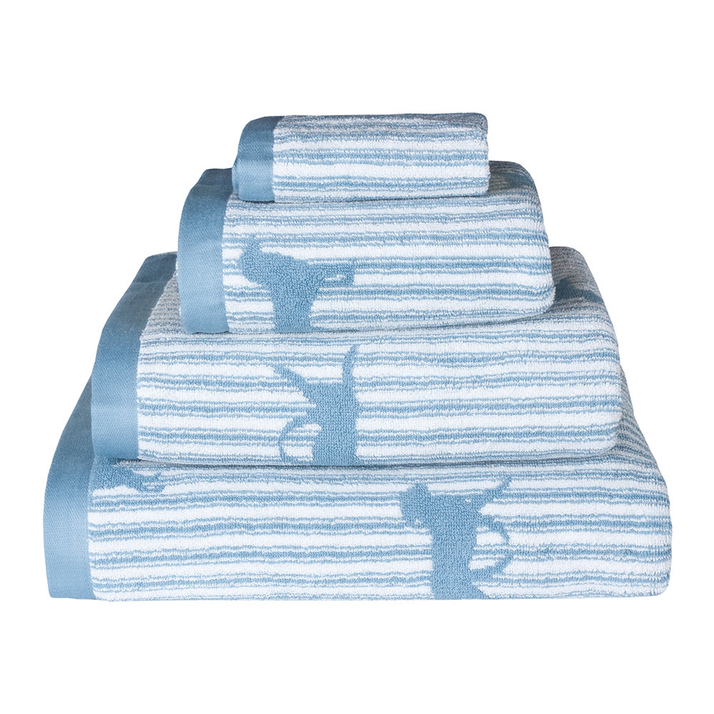 Emily Bond - Blue Labrador Jacquard Towel - Bath Towel