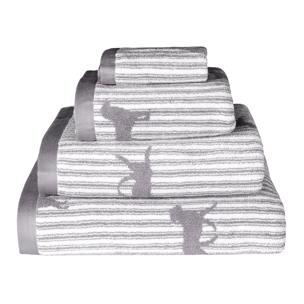 Emily Bond - Grey Labrador Jacquard Towel - Bath Sheet