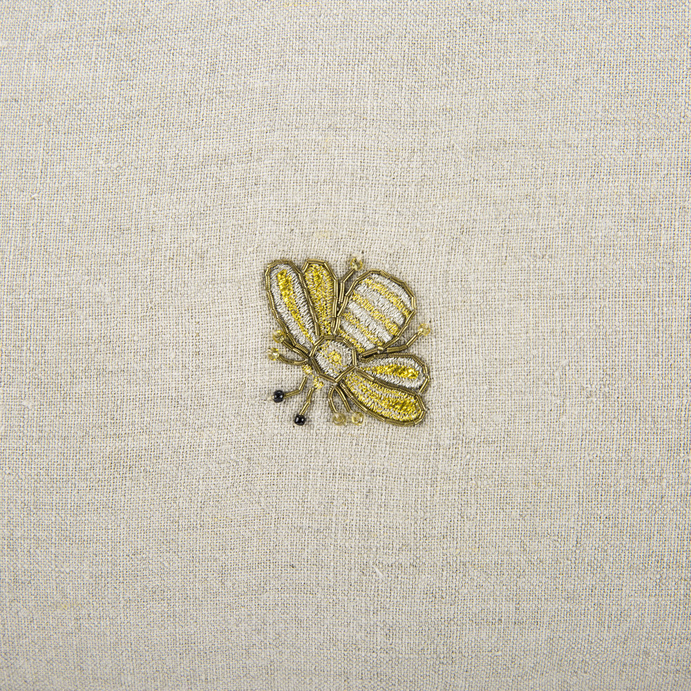 Joanna Buchanan - Embroidered Bee Cushion with Pom Pom Trim - Natural - 50x25cm