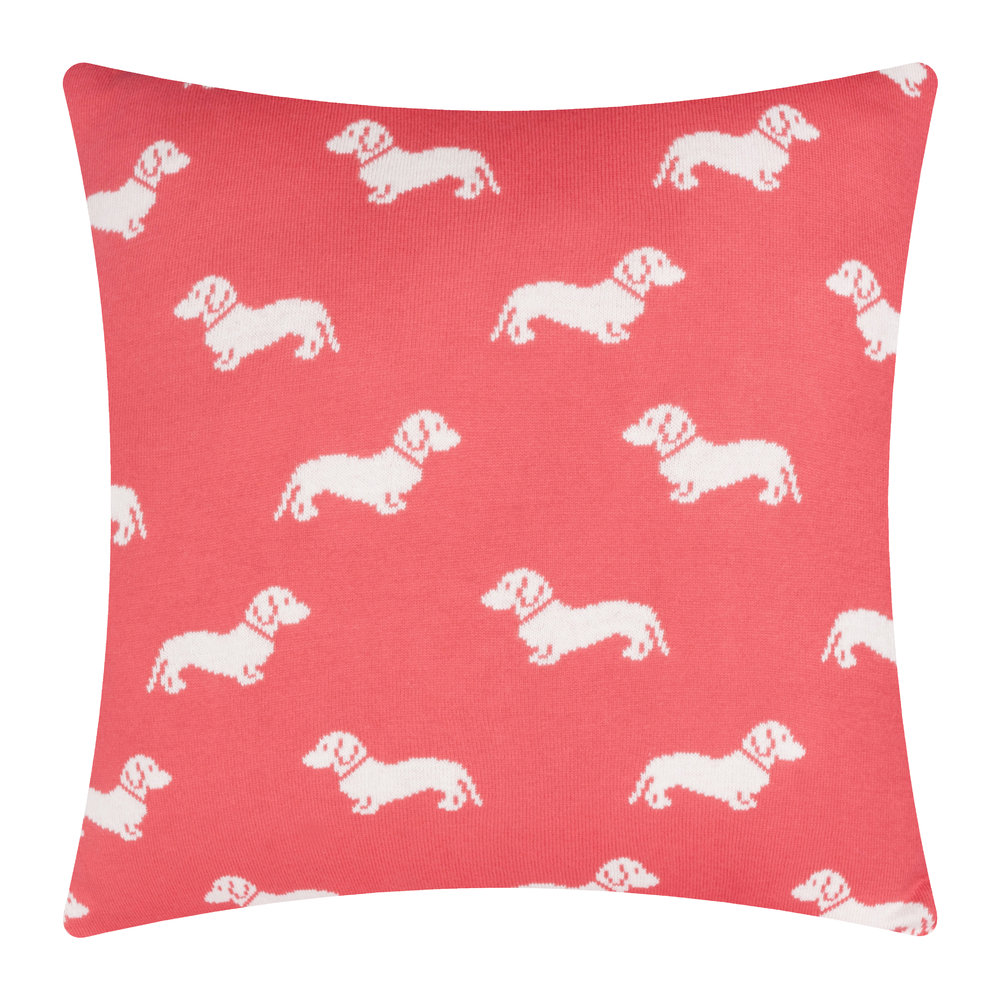 Emily Bond - Knitted Dachshund Cushion - 50x50cm - Pink