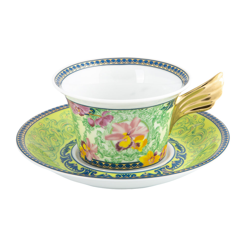 Versace Home - 25th Anniversary D.V. Floralia Teacup  Saucer - Limited Edition