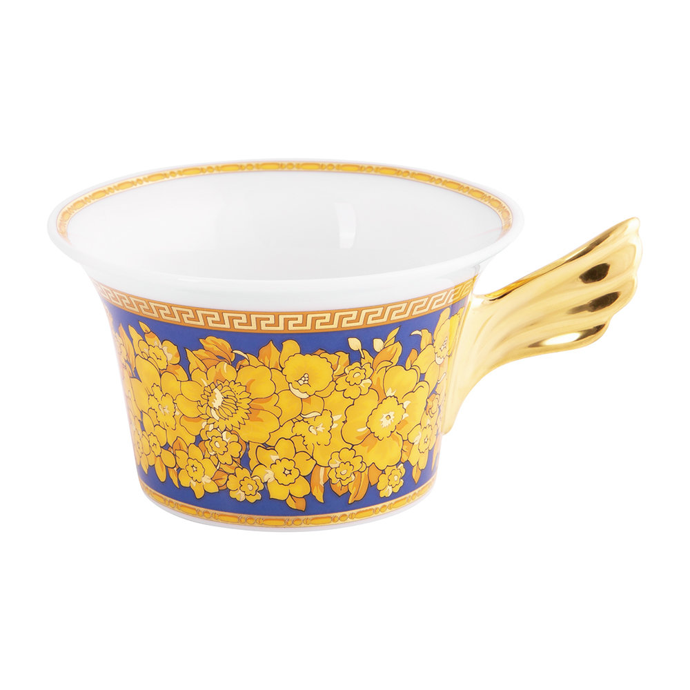 Versace Home - 25th Anniversary Floralia Blue Teacup & Saucer - Limited Edition