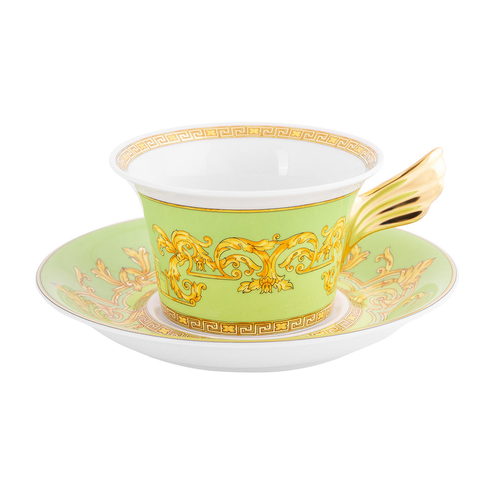 Versace Home - 25th Anniversary Floralia Green Teacup  Saucer - Limited Edition