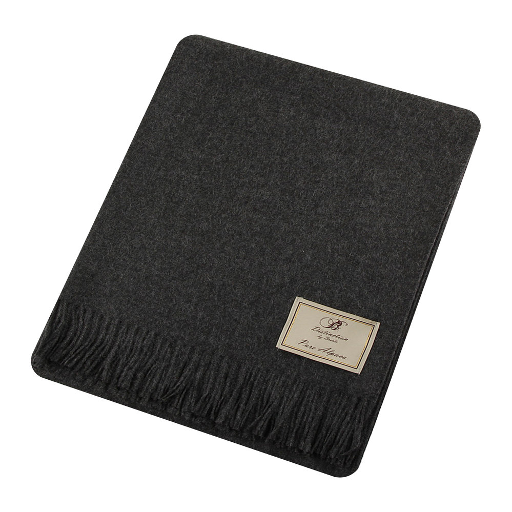 Bronte by Moon - Natural Alpaca Throw - Charcoal