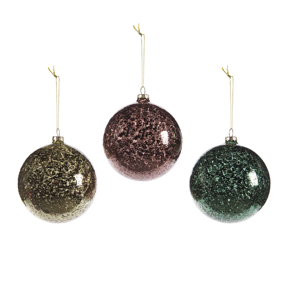 A by Amara - Assorted Metallic Speckled Baubles - Set of 3