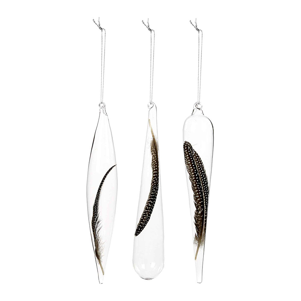 Buy A by Amara Feather Icicle Christmas Tree Decoration - Set of 3 ...