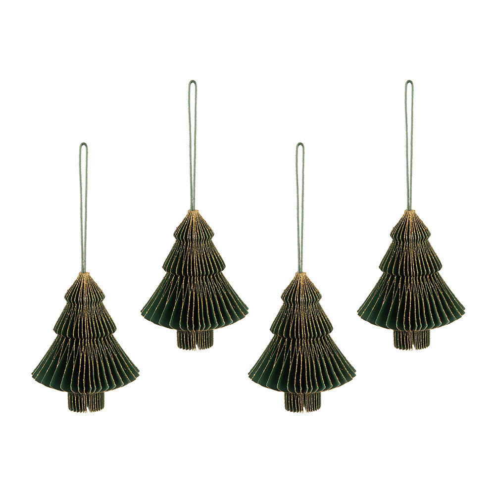 A by Amara - Paper Honeycomb Christmas Tree Hanging Decoration - Forest Green