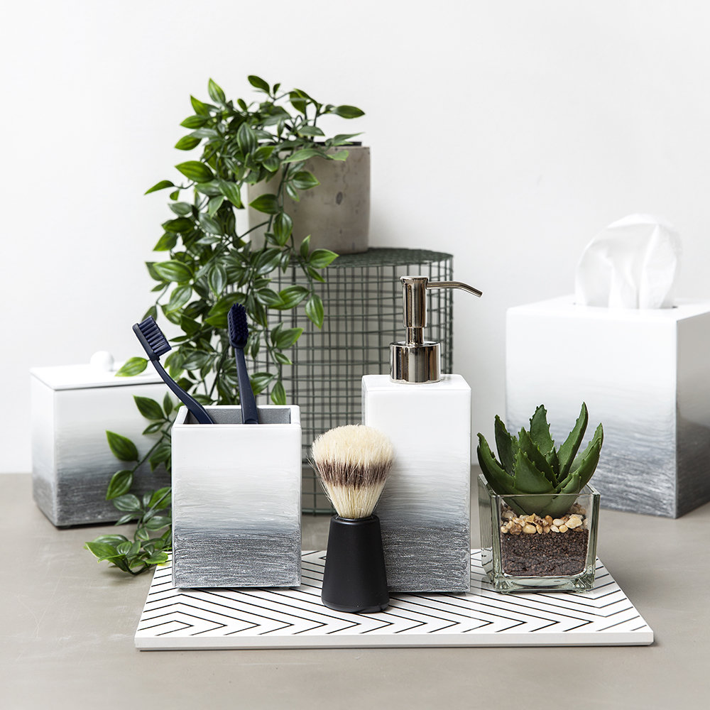 Mike + Ally - Ombre Tissue Box - Grey/Silver