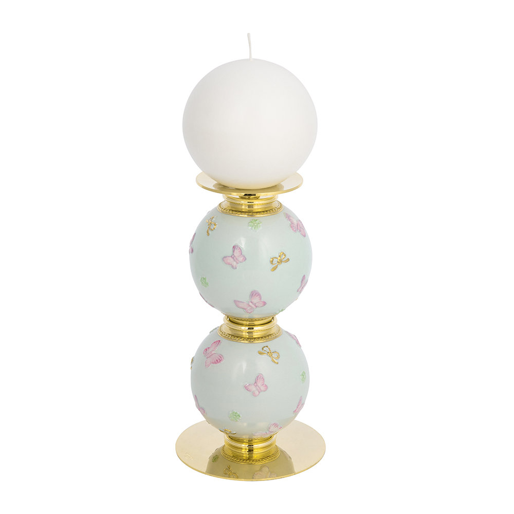 Villari - Butterfly Candle Holder - Aquamarine/Gold