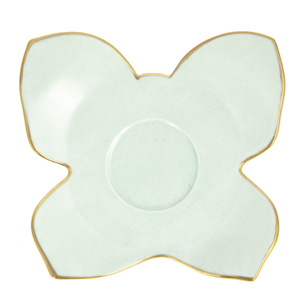 Villari - Butterfly Coffee Box - Set of 2 Cups & Butterfly Saucers - Aquamarine