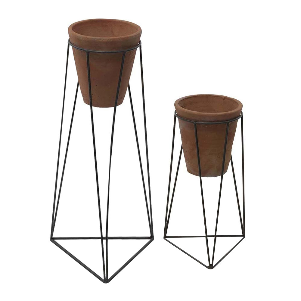 Nkuku - Jara Terracotta Planter & Iron Stand - Small