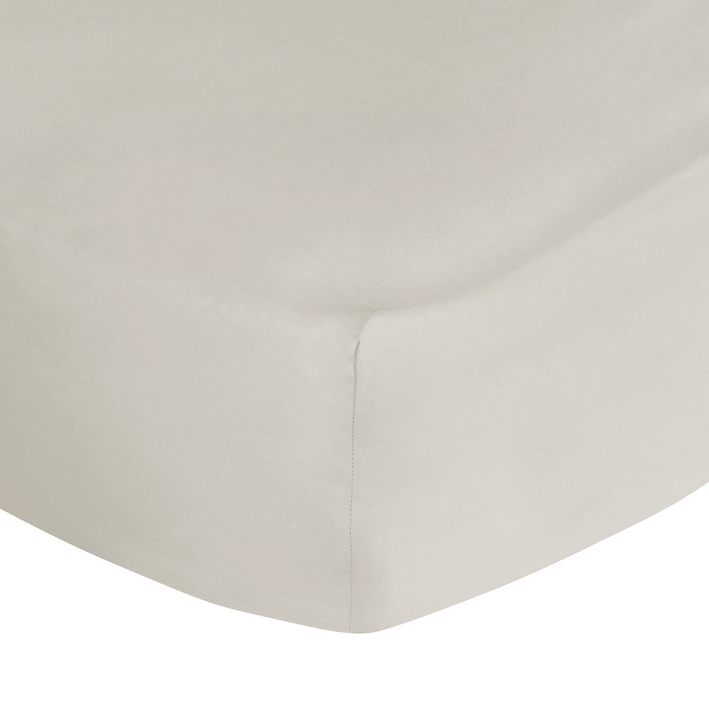 Image of A by AMARA - 500 Thread Count Sateen Fitted Sheet - Ivory - King