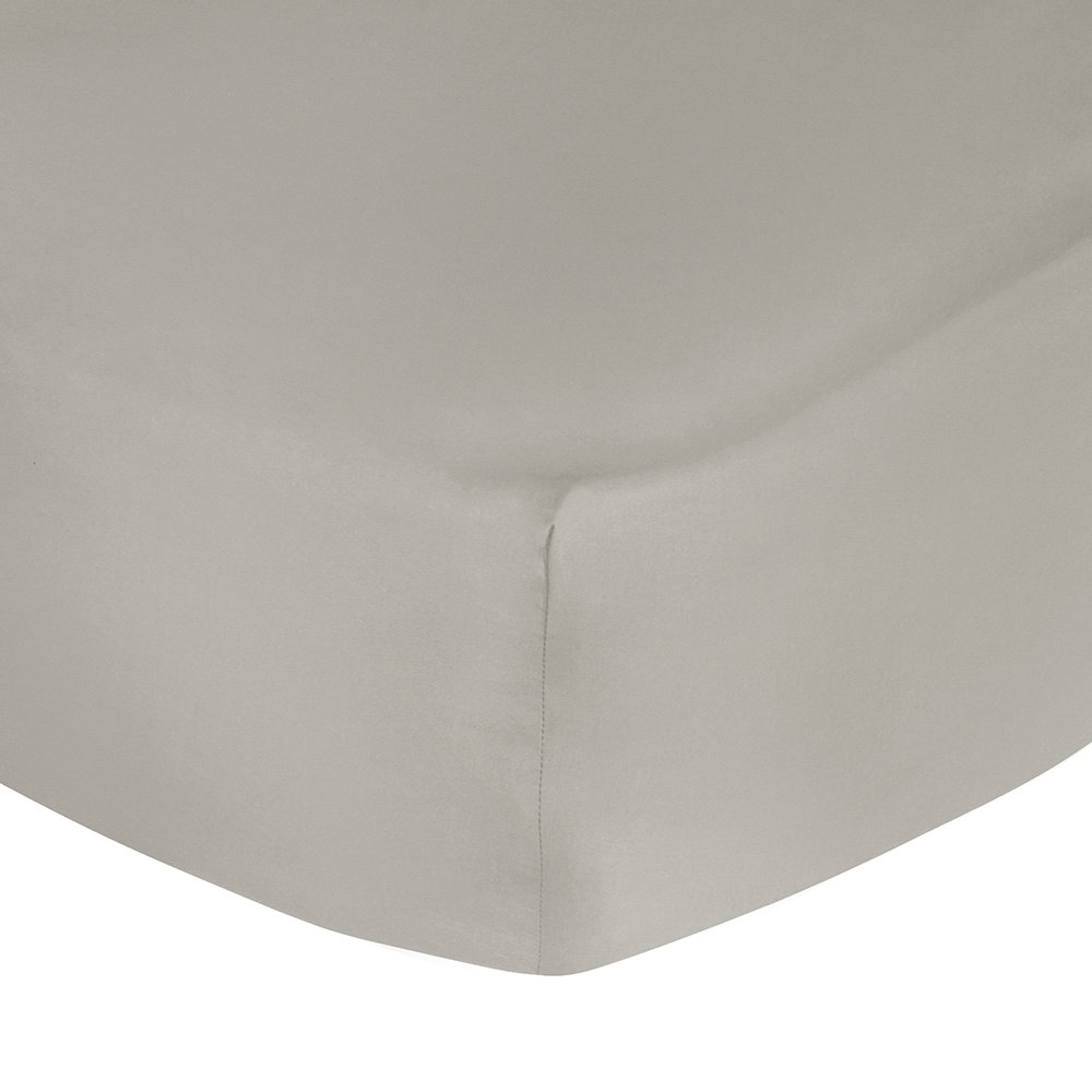 Image of A by AMARA - 500 Thread Count Sateen Fitted Sheet - Taupe - Double