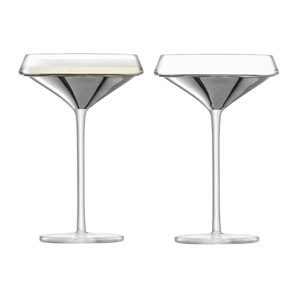 LSA International - Space Champagne/Cocktail Glass - Set of 2 - Platinum