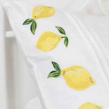 Embroidered Lemon Pillowcase - Set of 2