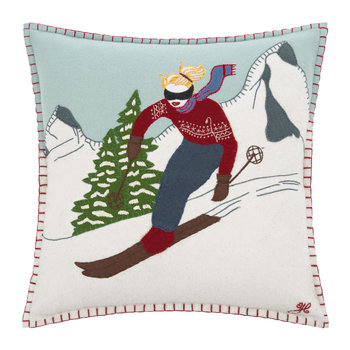 Blonde Skier Girl Cushion