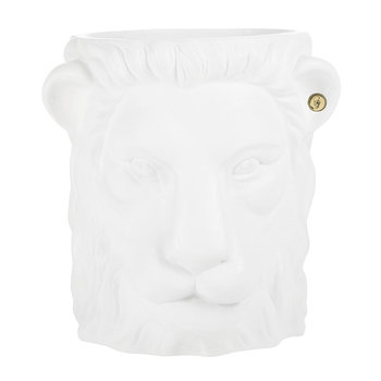 Terracotta Lion Plant Pot - Large - White