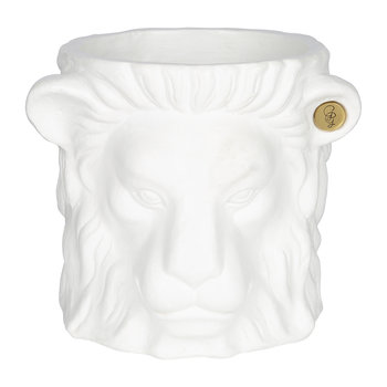 Terracotta Lion Plant Pot - Small - White