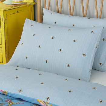 Chinese Floral Pillowcase - Frozen Blue