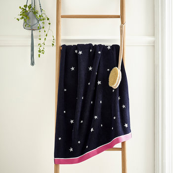 Navy & Pink Star Towel