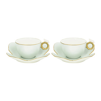 Butterfly Tea Box - Set of 2 Cups & Butterfly Saucers - Aquamarine