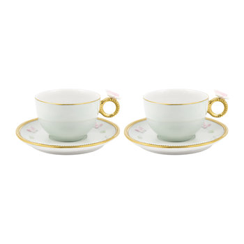 Butterfly Tea Box - Set of 2 Cups & Round Saucers - Aquamarine