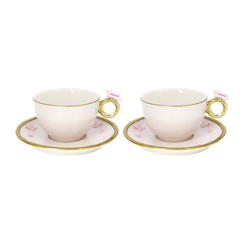 Butterfly Tea Box - Set of 2 Cups & Round Saucers - Baby Rose