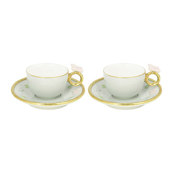 Butterfly Coffee Box - Set of 2 Cups & Round Saucers - Aquamarine