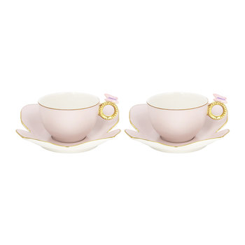 Butterfly Tea Box - Set of 2 Cups & Butterfly Saucers - Baby Rose