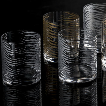 Verres à Whisky Old Fashioned Zèbre - Lot de 2 - Or