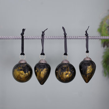 Danoa Bauble - Set of 4 - Aged Amber & Black