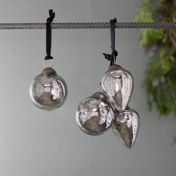 Mazi Bauble - Set of 4 - Antique Silver