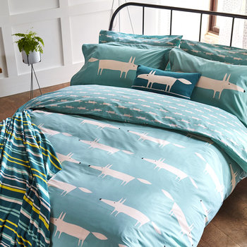 Mr Fox Duvet Cover - Teal