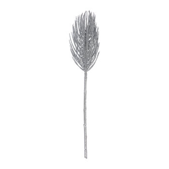 Decorative Glitter Frosted Pine Stem - Silver