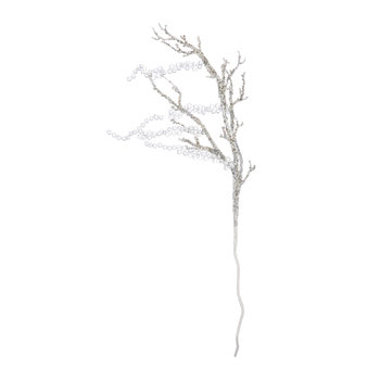 Glitter Decorative Beaded Branch with 5 Drops - Silver